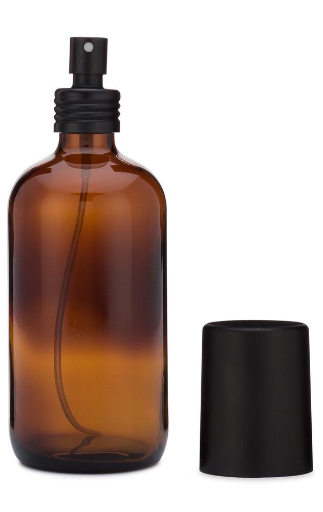 Apothecary Amber Glass Mist Bottle with Metal Black Aluminum Mist Nozzle w/ Cap