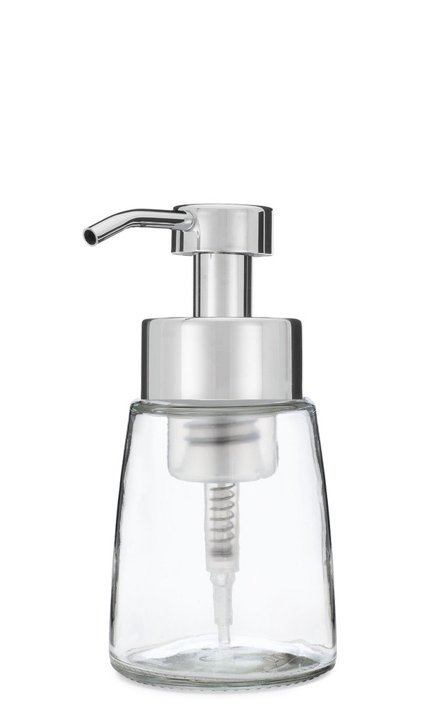 Small Glass Foam Soap Dispenser with Chrome Pump