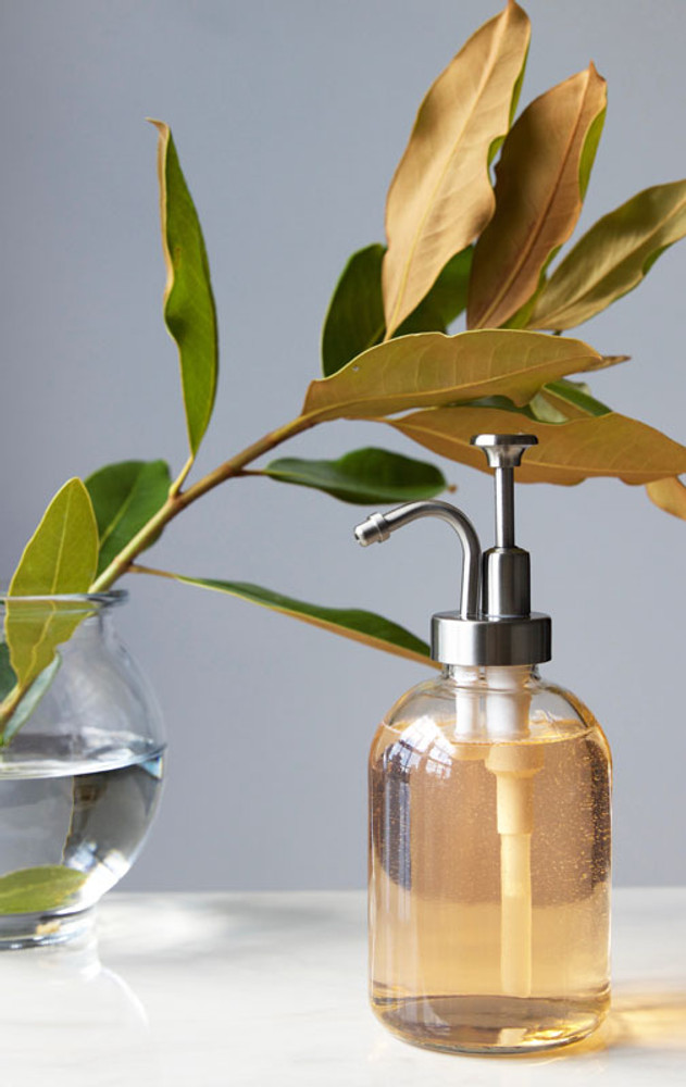 Silver Bell Glass Soap Dispenser with Stainless Silver Pump