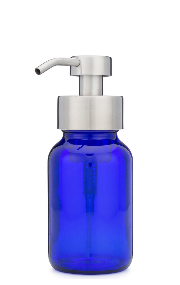 Blue Apothecary Glass Foaming Soap Dispenser with Stainless Pump