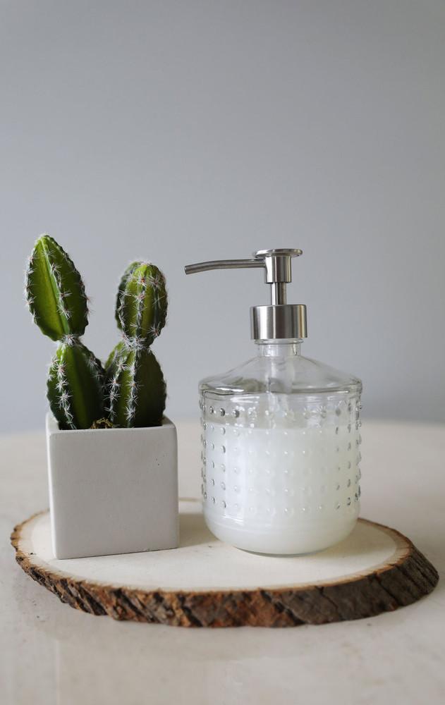 Hobnail Glass Soap Dispenser