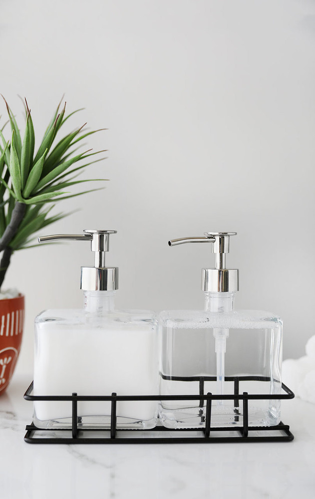 Soap Dispenser Sets Perfect Pair Glass Clear Soap Dispenser Set With Metal Caddy Rail19