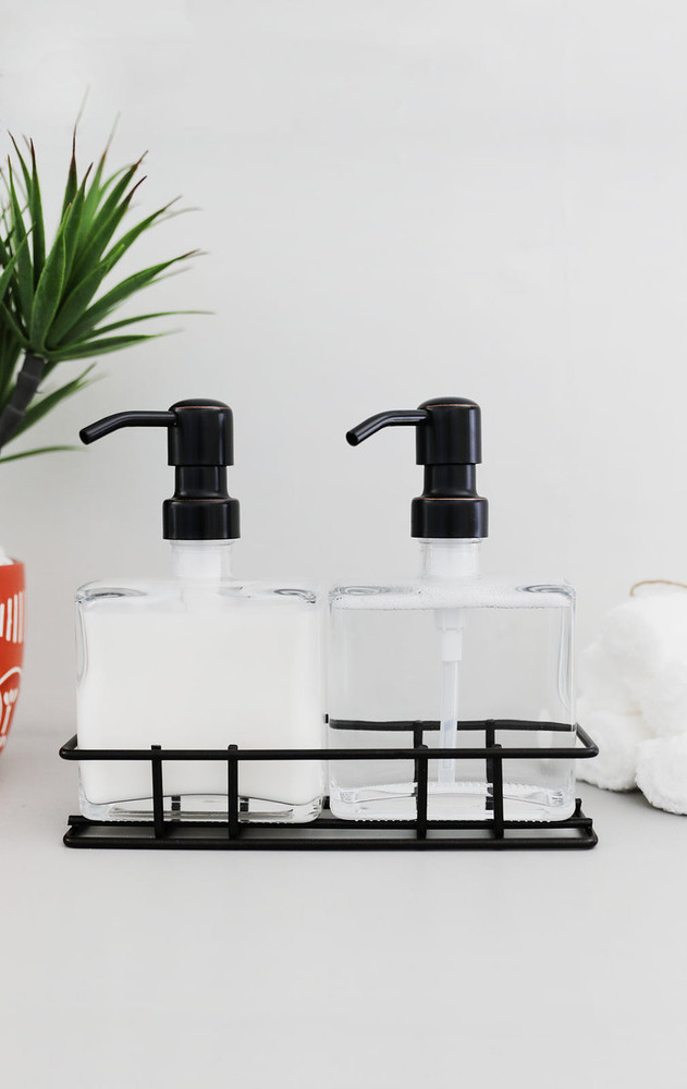 Urban Pair Glass Soap + Lotion Dispenser Set w/ Metal Stand