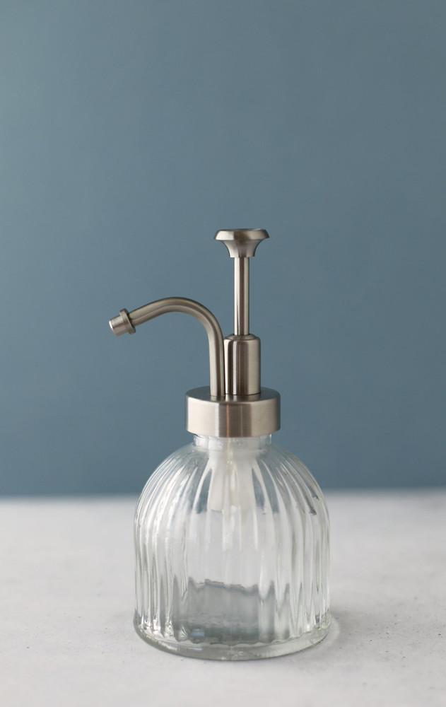 Small Fluted Glass Soap Dispenser with Stainless Steel Pump