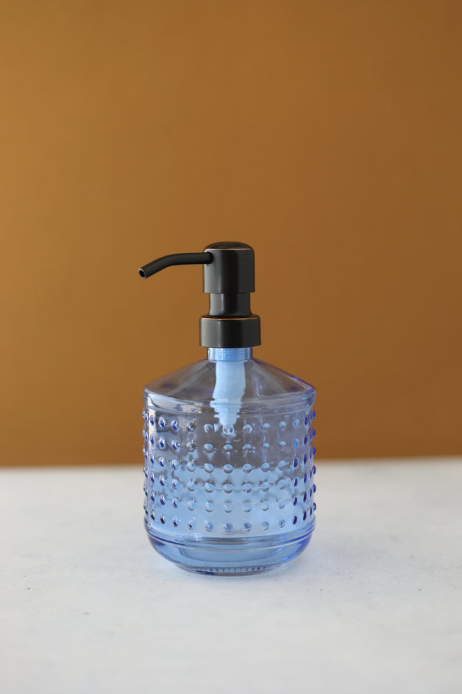 Blue Hobnail Glass Soap Dispenser