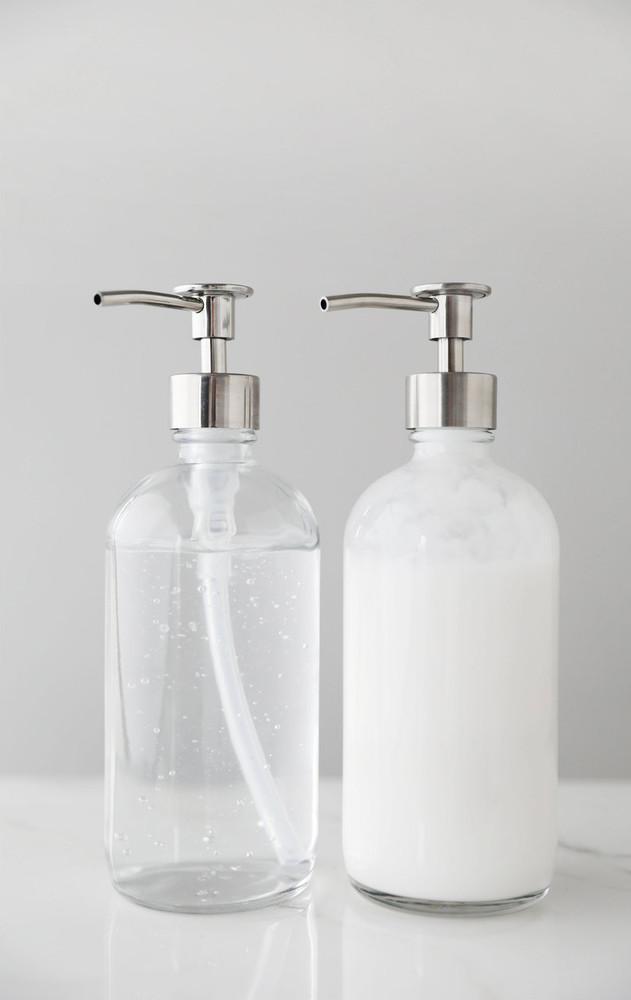 Market Clear Glass Soap Dispensers - Pair