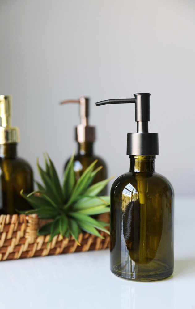 Forest Green Glass Lotion Soap Dispenser with Metal Pump