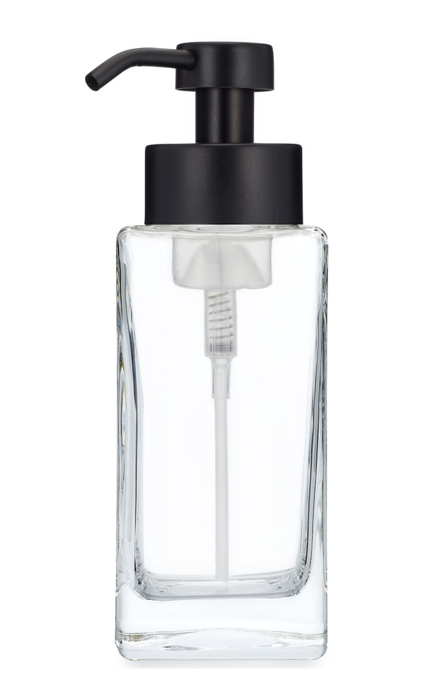 Modern Square Glass Foaming Soap Dispenser - Black