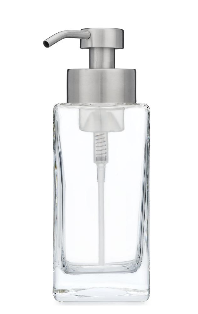 Modern Square Glass Foaming Soap Dispenser - Stainless