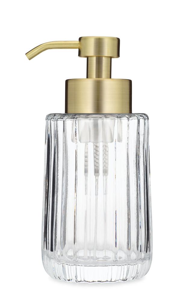 Flora Fluted Glass Foaming Soap Dispenser - Gold