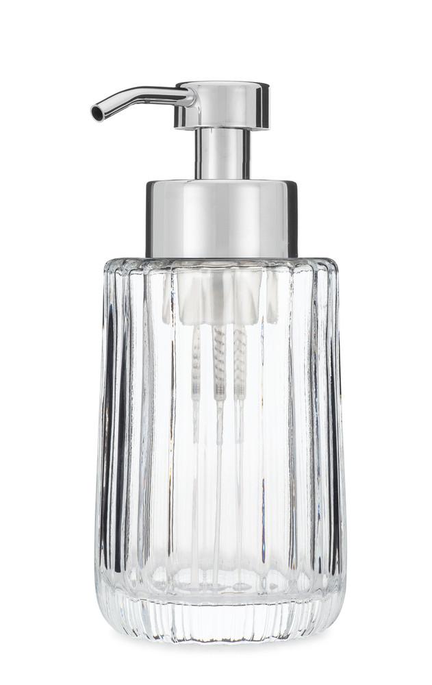 Flora Fluted Glass Foaming Soap Dispenser - Chrome