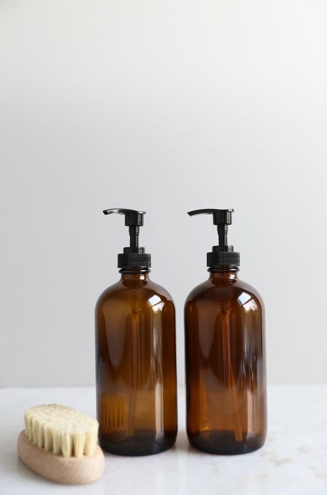 Black Label Basics Amber Glass Kitchen Dispenser Set