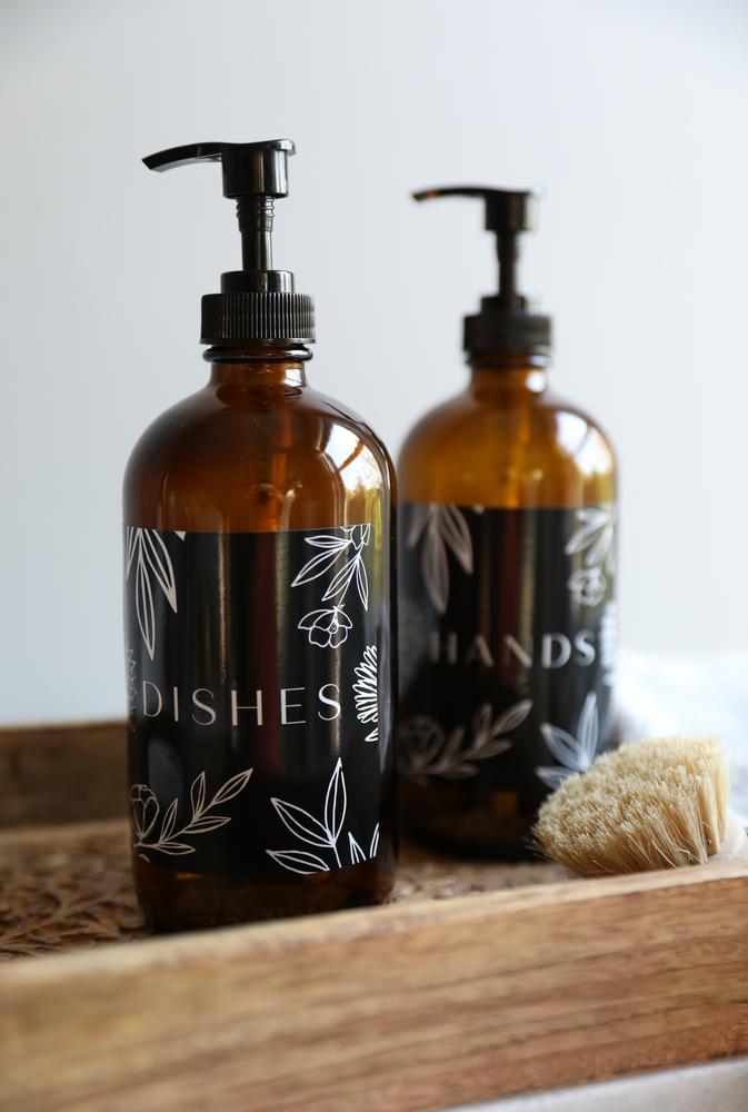 Black Label Basics Kitchen Dispenser Hand Soap Dish Soap Dispenser Set Amber Rail19