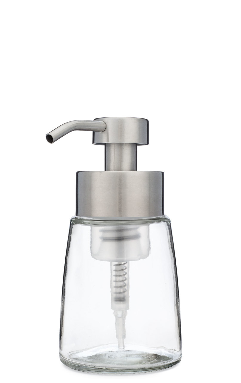 dc3d1f8fa84e Small Glass Foam Soap Dispenser with Stainless Steel Pump