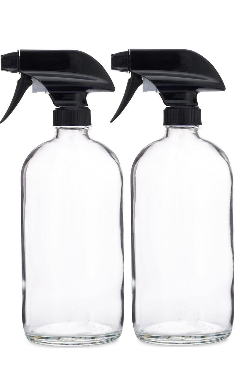 1abf673e0514 Glass Spray Bottle w/ Black Spray Nozzle - 2 Pack
