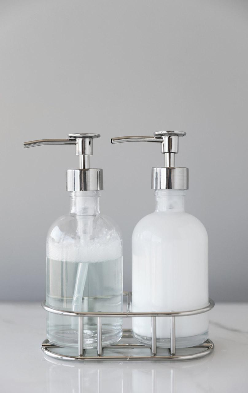 Soap Dispenser Sets Perfect Pair Glass Clear Soap Dispenser Set With Chrome Caddy Rail19
