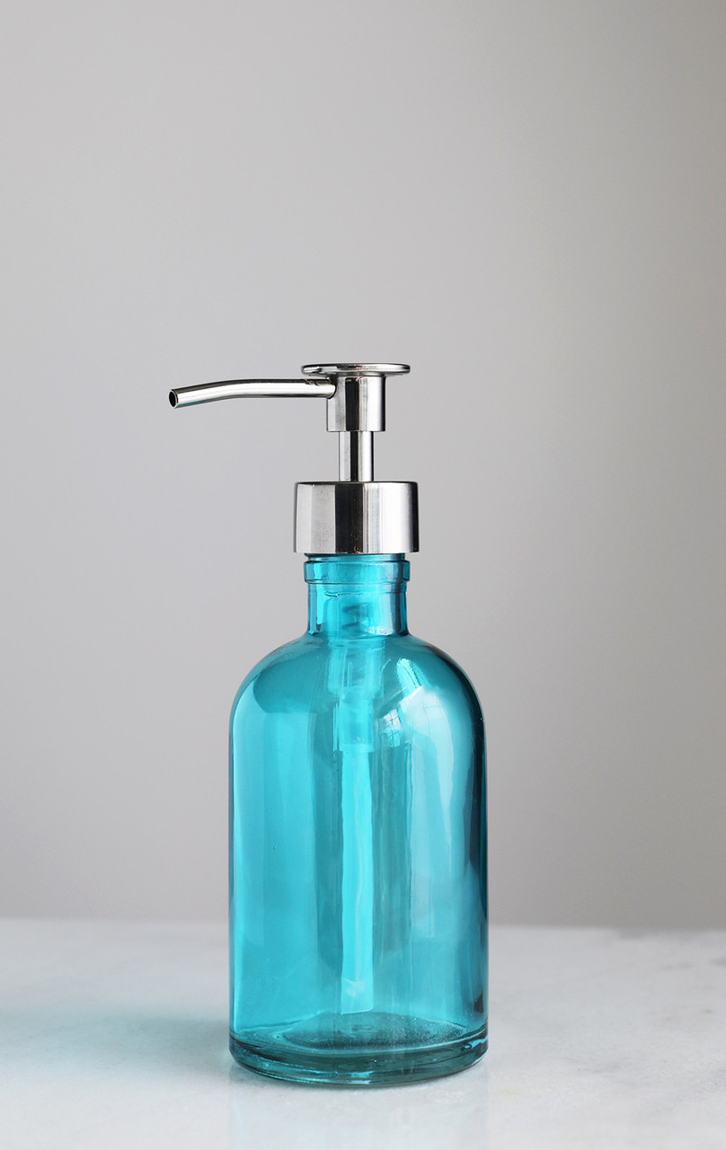Glass Soap Dispensers Beach Blue Glass Lotion Soap Dispenser With Metal Soap Pump Rail19