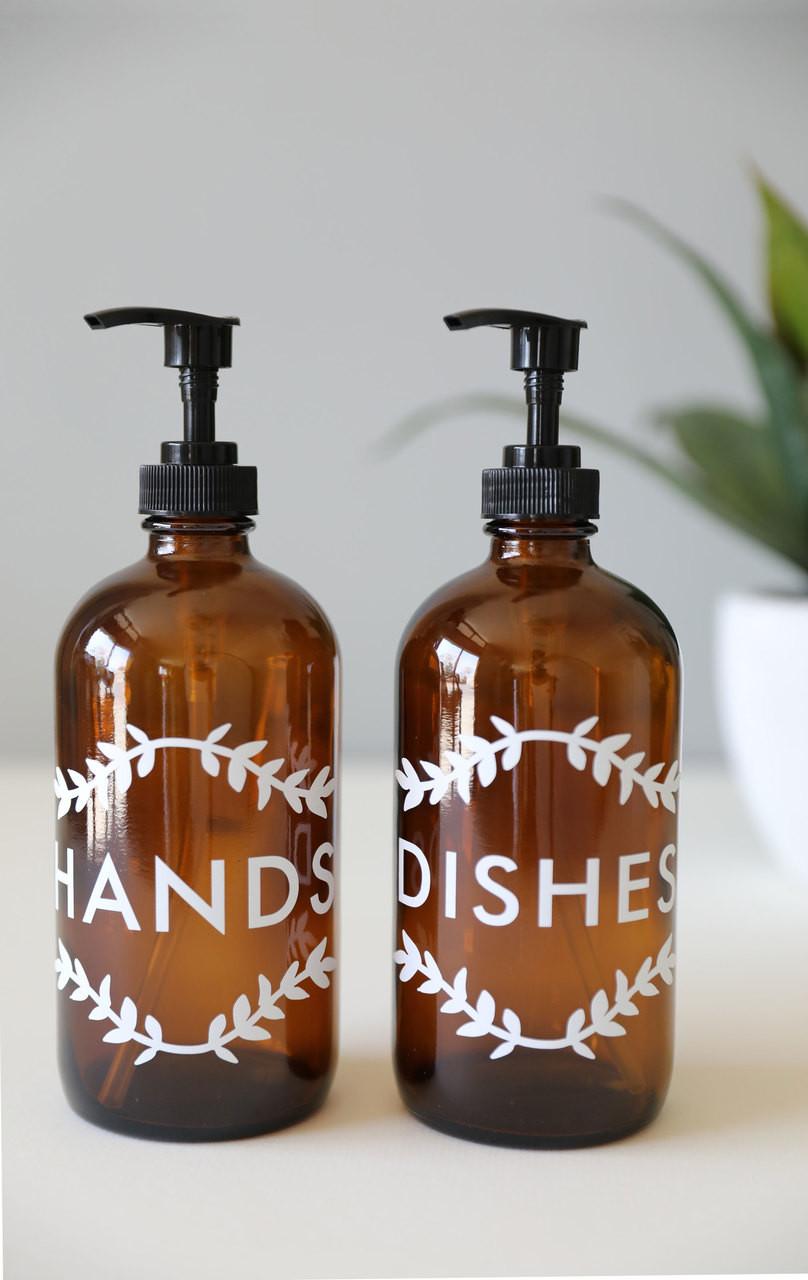 Hands Dishes Kitchen Soap Dispenser Set Amber Rail19