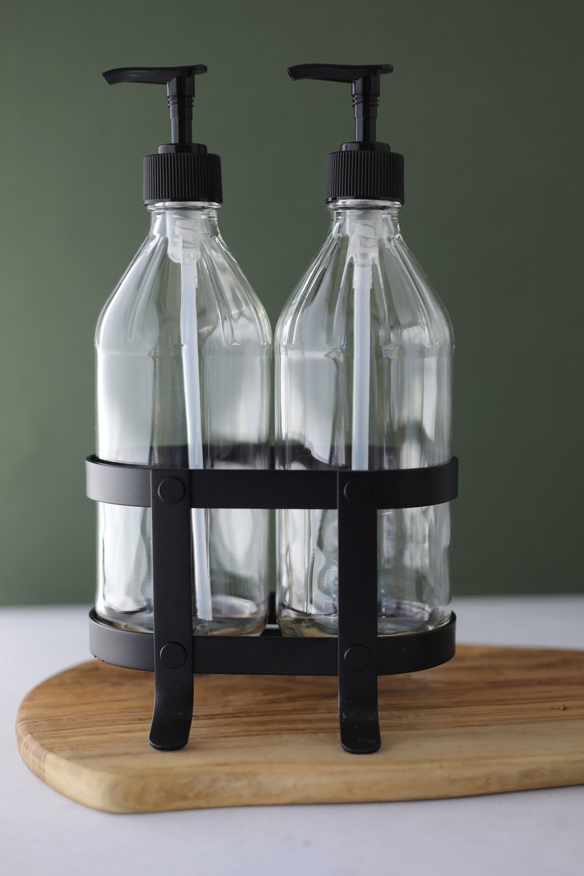 Vintage Kitchen Dish Soap + Hand Soap Dispenser Set with Black Metal Stand  / Caddy