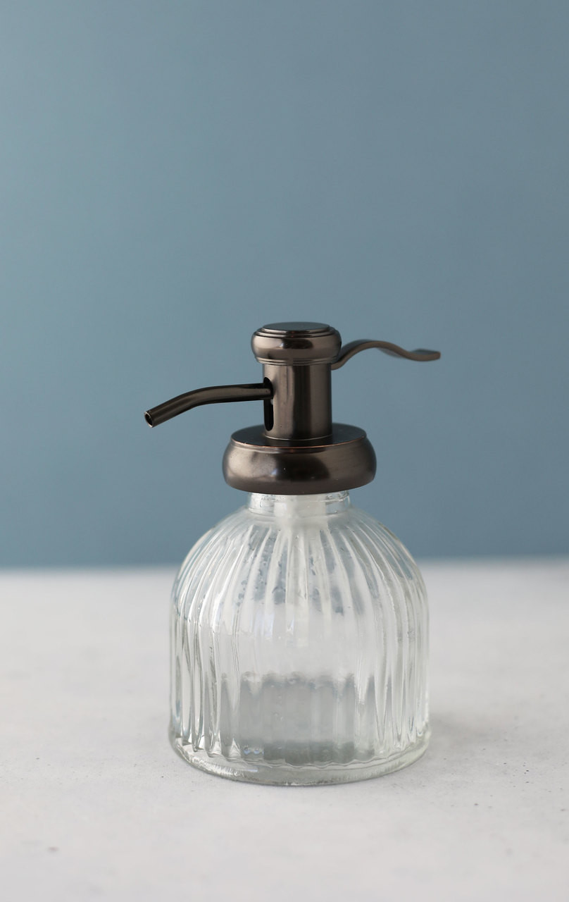 9f9c728c0be Small Fluted Glass Soap Dispenser with Antique Bronze Pump - Rail19