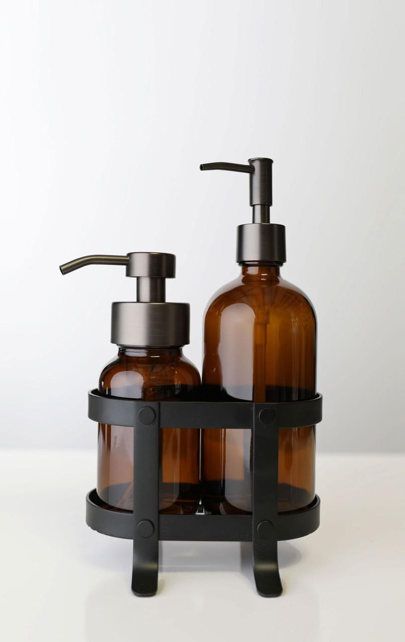 Foaming Soap + Non-Foaming Soap Dispenser Set with Black Caddy