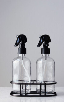 Apothecary Glass Mist Spray Bottle Set w/ Black Mist Nozzle + Stand