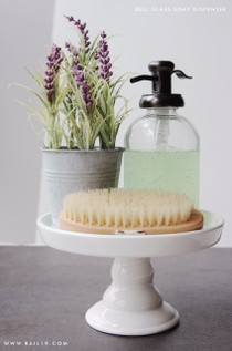 Bell Glass Soap Dispenser with Antique Bronze Pump