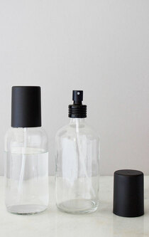 Apothecary Glass Mist Bottle with Black Aluminum Sprayer + Black Cap