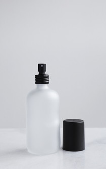Apothecary Frosted Glass Mist Bottle w/ Black Aluminum Mist Nozzle + Cap