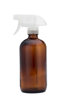 Amber Glass Cleaner Bottle with Clear Spray Nozzle
