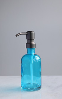 Beach Blue Glass Lotion Soap Dispenser with Metal Pump