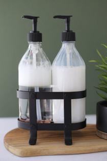 Vintage Kitchen Dish Soap + Hand Soap Dispenser Set with Black Metal Stand / Caddy