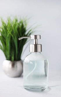 Modern Glass Foaming Soap Dispenser with Stainless Steel Foam Pump