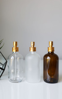 Apothecary Clear Glass Mist Spray Bottle with Gold Aluminum Sprayer