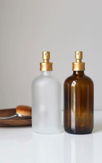 Apothecary Amber Glass Mist Bottle with Gold Aluminum Mist Nozzle