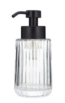 Flora Fluted Glass Foaming Soap Dispenser - Black