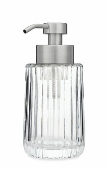 Flora Fluted Glass Foaming Soap Dispenser - Stainless Steel