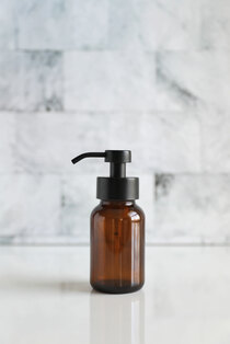 Amber Apothecary Glass Foaming Soap Dispenser with Black Pump