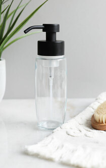 Large Glass Foam Soap Dispenser with Black Pump