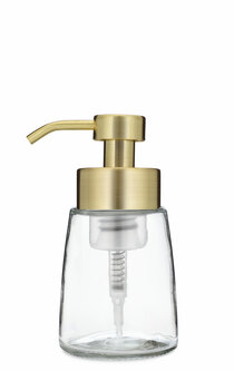 Small Glass Foam Soap Dispenser with Gold Pump