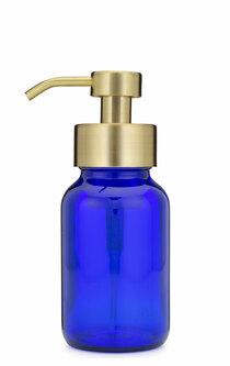 Blue Apothecary Glass Foaming Soap Dispenser with Gold Pump