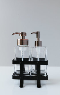 Modern Foaming Soap + Non-Foaming Soap Dispenser Set with Black Caddy