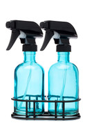 Perfect Pair Beach Blue Glass Spray Bottle Black Spray Nozzle + Stand