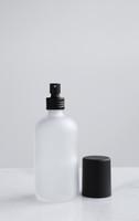 Apothecary Frosted Glass Mist Bottle w/ Black Aluminum Mist Nozzle + Cap