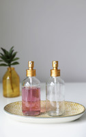 4oz Apothecary Clear Glass Mist Spray Bottle with Gold Aluminum Sprayer Set of 2