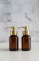 Amber Apothecary Glass Foaming Soap Dispenser with Gold Pump