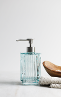 Parisian Blue Fluted Glass Soap Dispenser