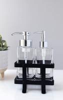 Modern Foaming Soap + Non-Foaming Soap Dispenser Set with Black Caddy