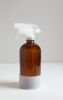 Refillable Amber Glass Cleaning Spray Bottle - With Silicone Sleeve (16 OZ)
