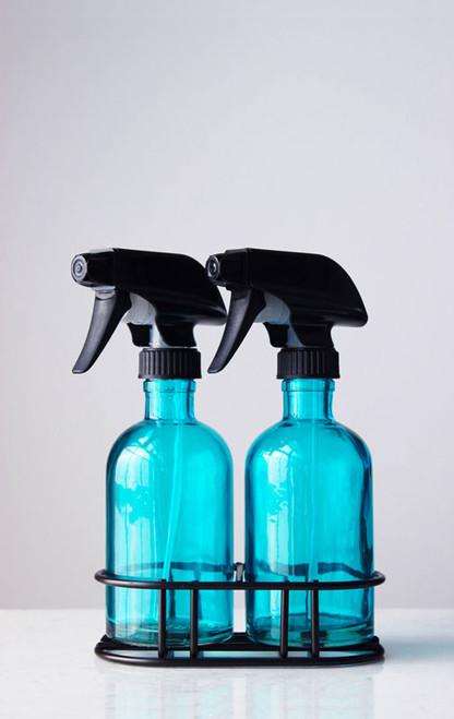 Perfect Pair Beach Blue Glass Spray Bottle Black Spray Nozzle + Stand